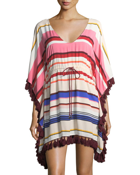 striped caftan coverup with tassel trim