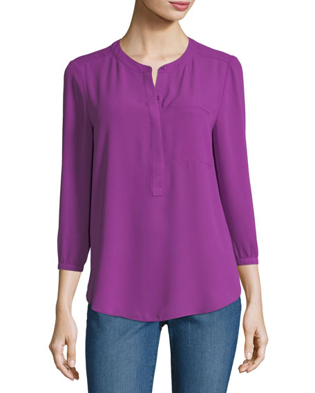 NYDJ 3/4-Sleeve Pleated-Back Blouse