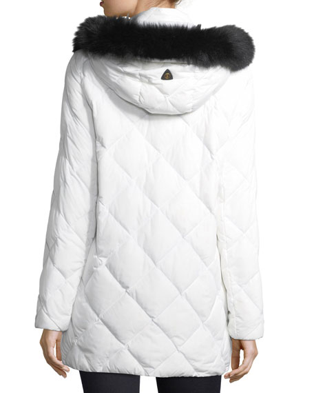 Nika Diamond-Quilted Hooded Puffer Coat w/ Fox Fur