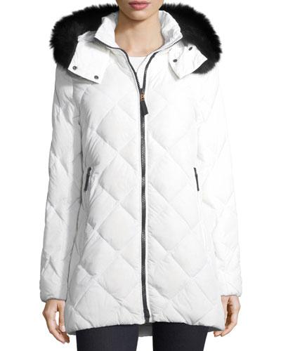Nika Diamond-Quilted Hooded Puffer Coat w/ Fox Fur
