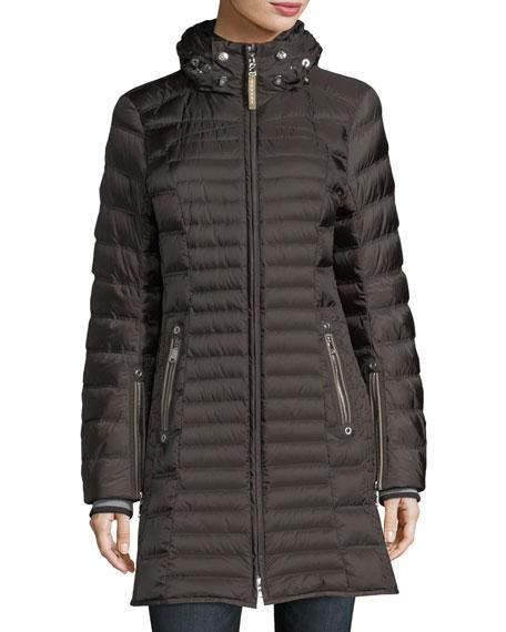 Cheryl Zip-Front Quilted Puffer Coat w/ Fox Fur