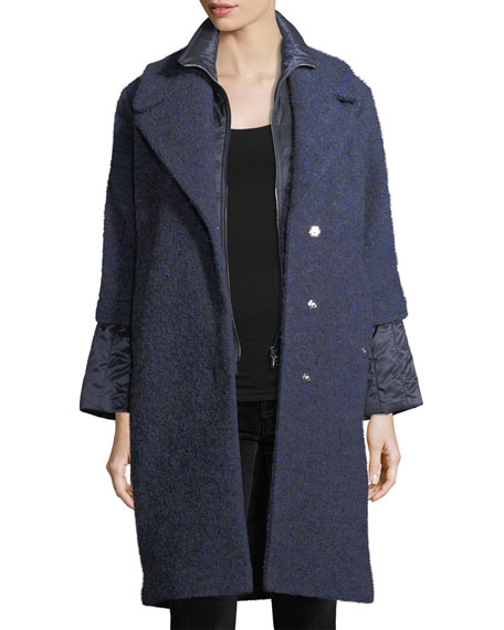 Gloria Wool-Blend Button-Front Coat w/ Puffer Inserts