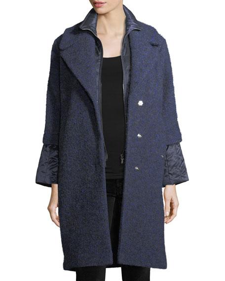 Gloria Wool-Blend Button-Front Coat w/ Puffer Inserts