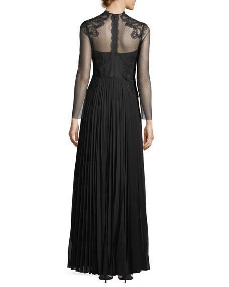 Leigha High-Neck Long-Sleeve Column Evening Gown
