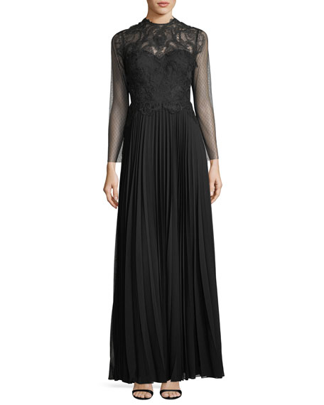 Leigha High-Neck Long-Sleeve Column Evening Gown