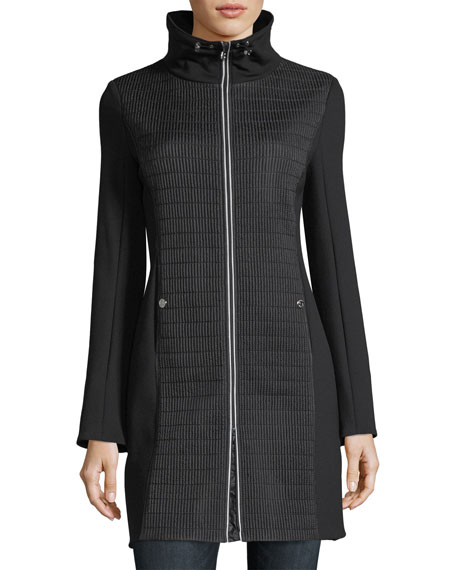 Bogner Woman Tamara Cigarette-Quilted Zip-Front Short Coat