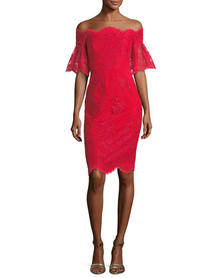 Badgley Mischka Lace Off-the-Shoulder Flutter-Sleeve Cocktail Dress