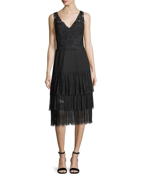 Kobi Halperin Abrianna V-Neck Sleeveless Lace Cocktail Dress