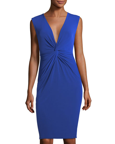 V-Neck Knotted Sheath Dress