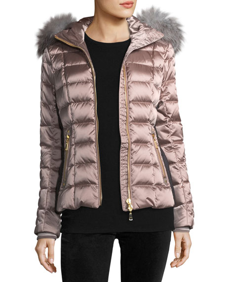 Lena Hooded Shiny Quilted Puffer Coat w/ Fur Trim
