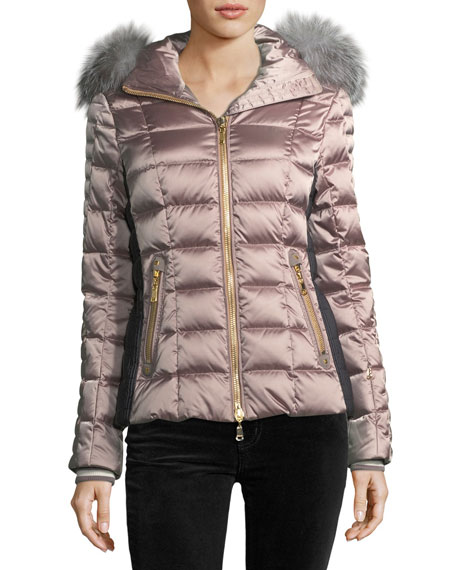 Bogner Sport Lena Hooded Shiny Quilted Puffer Coat