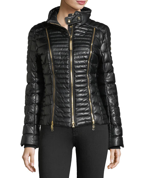 Bogner Sport Carine Faux-Leather Quilted Puffer Coat w/