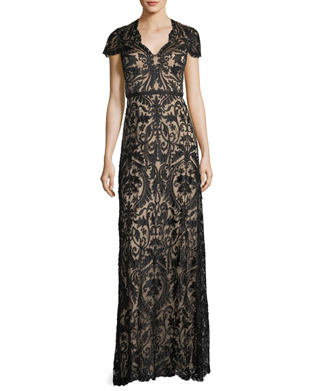 Catherine Deane Beaded Lace Cap-Sleeve Gown