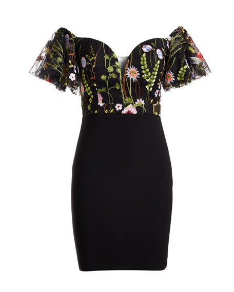 Embroidered Lace Off-the-Shoulder Cocktail Dress