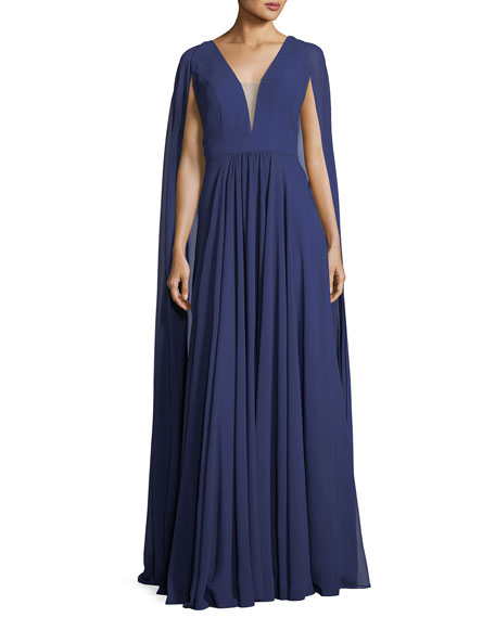 Faviana V-Neck Sheer Cape Evening Gown