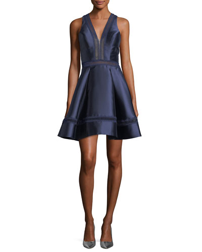 Mikado V-Neck Fit-and-Flare Sateen Cocktail Dress