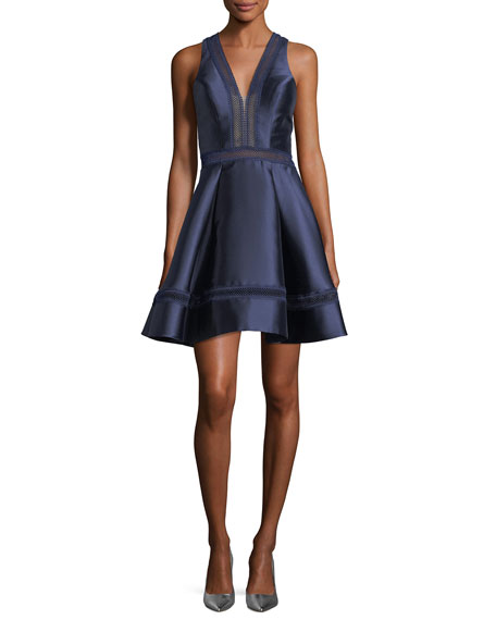 Faviana Mikado V-Neck Fit-and-Flare Sateen Cocktail Dress