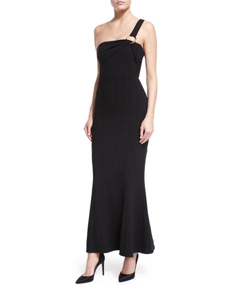 One-Shoulder Flounce-Hem Crepe Evening Gown