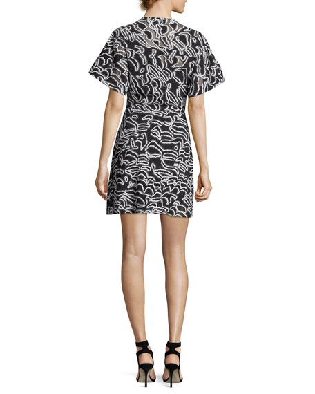 V-Neck Short-Sleeve Flare Mini Dress