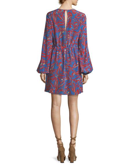 Jewel-Neck Long-Sleeve Tie-Waist Mini Dress