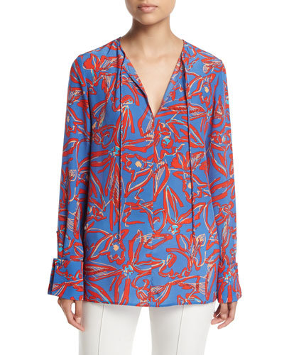 Long-Sleeve Tie-Front Silk Blouse