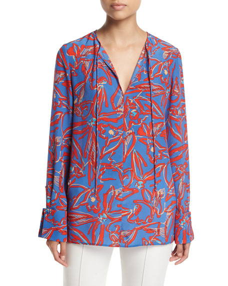 Diane von Furstenberg Long-Sleeve Tie-Front Silk Blouse and