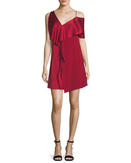 Diane von Furstenberg Asymmetric Sleeve Ruffled Front Mini