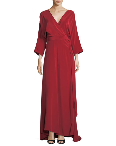 Diane von Furstenberg Long-Sleeve Floor-Length Silk Faux-Wrap