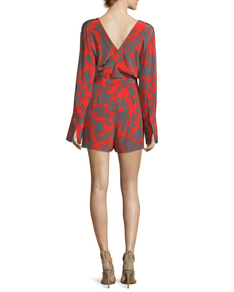 Long-Sleeve Faux-Wrap V-Neck Printed Silk Romper