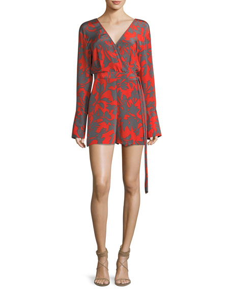 Diane von Furstenberg Long-Sleeve Faux-Wrap V-Neck Printed Silk
