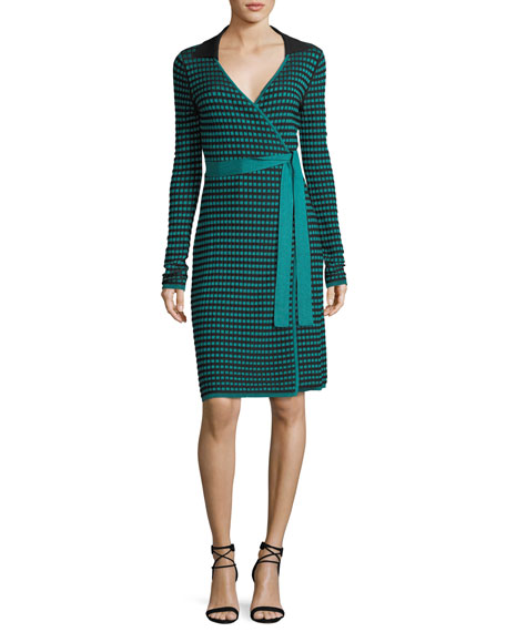 Diane von Furstenberg Long-Sleeve Collared Check Wrap Dress