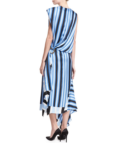 High-Neck Cap-Sleeve Bias-Cut Striped Satin Maxi Dress