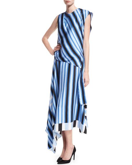 Diane von Furstenberg High-Neck Cap-Sleeve Bias-Cut Striped Satin