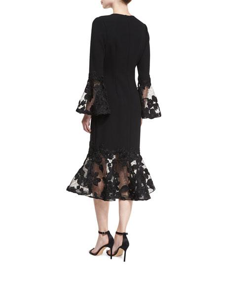 Long-Sleeve Crepe Flounce-Lace Cocktail Dress