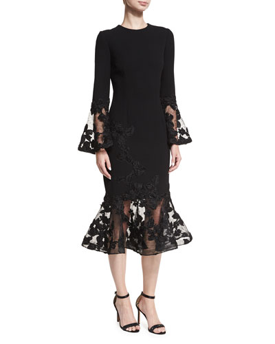 Long-Sleeve Crepe Flounce-Lace Cocktail Dress