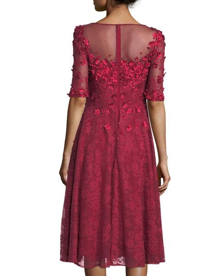 3/4-Sleeve 3-D Floral Lace Midi Cocktail Dress