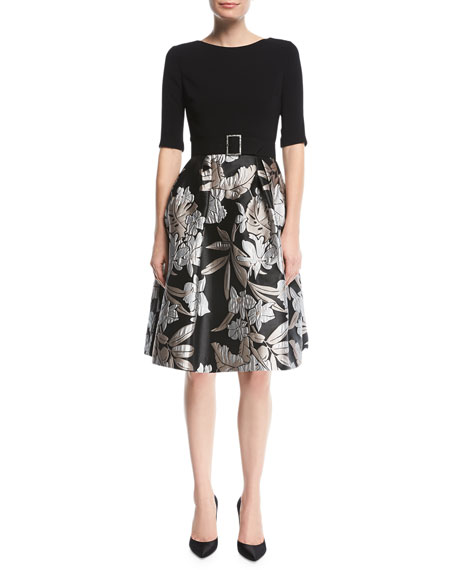Rickie Freeman for Teri Jon Crepe-Top Cocktail Dress