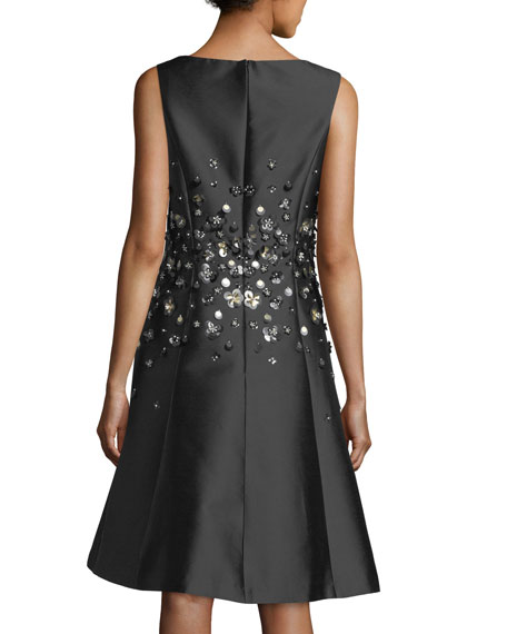 Sleeveless Gazar Fit-and-Flare Cocktail Dress w/ Paillettes