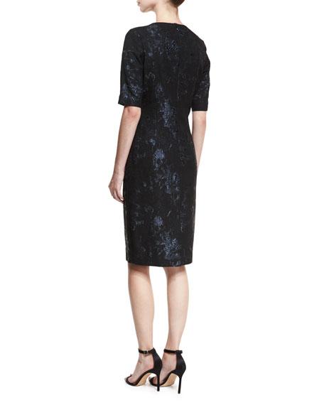 Elbow-Sleeve Stretch-Jacquard Midi Cocktail Dress