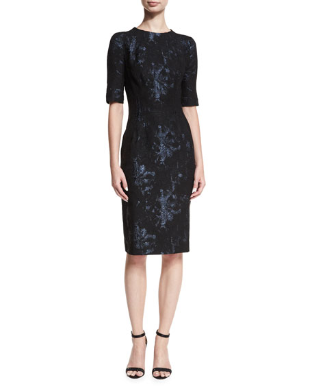 Rickie Freeman for Teri Jon Elbow-Sleeve Stretch-Jacquard Midi