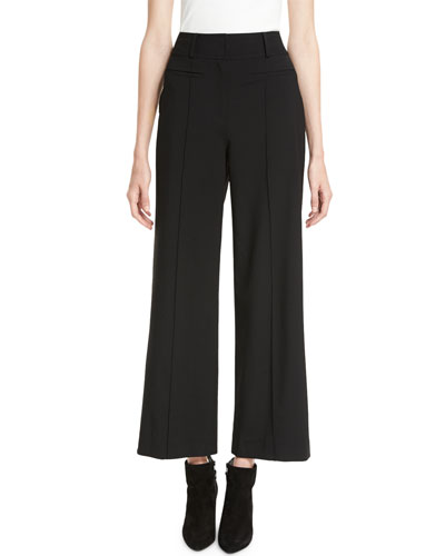 High-Waist Seam Wool Culotte Pants