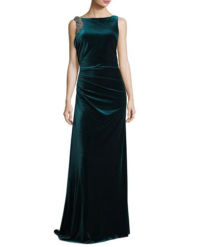Velvet Sleeveless Low-Back Evening Gown w/ Embellishments