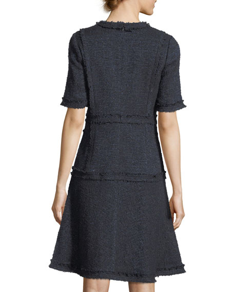 Metallic Tweed Short-Sleeve Cocktail Dress w/ Pearlescent Trim
