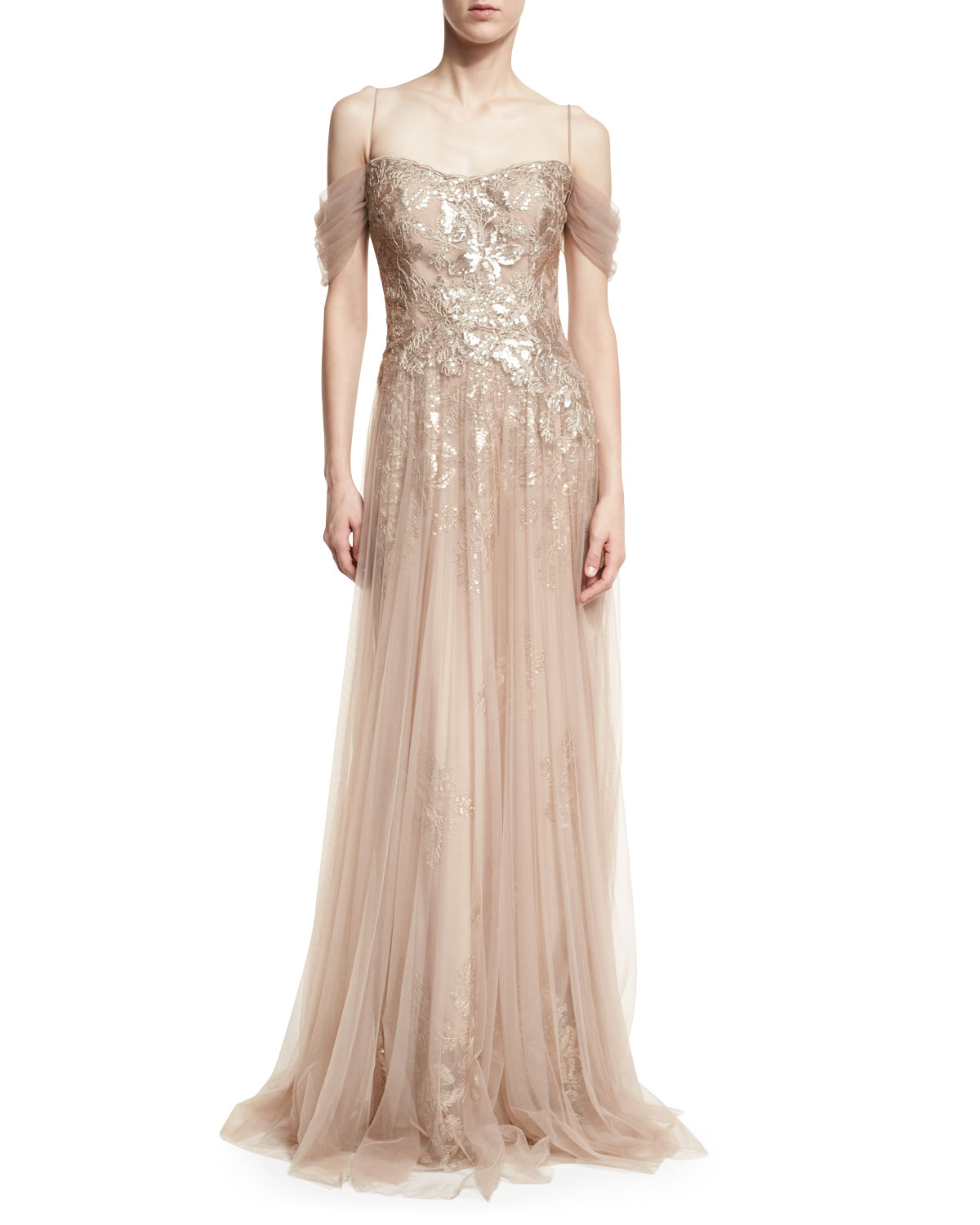 Rickie Freeman for Teri Jon Sequin Lace Evening Gown w/ Tulle ...