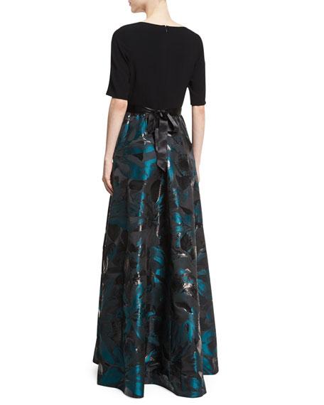 Crepe Top Jacquard Skirt Beaded-Belt Evening Gown