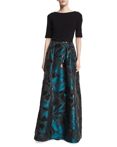 Crepe Top Jacquard Skirt Beaded-Belt Evening Gown