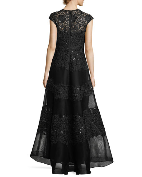 Embellished Mesh Lace Cap-Sleeve Evening Gown