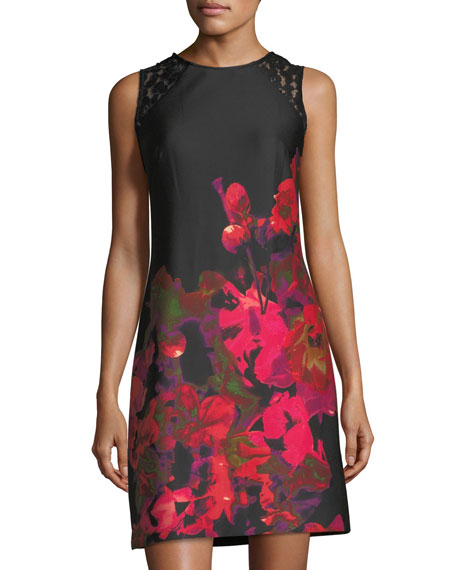 Donna Ricco Lace-Panel Floral-Print Dress