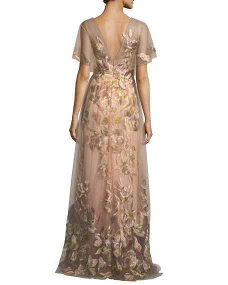 a0f1814e1d91f Marchesa Notte Embroidered Tulle Flutter Sleeve Evening Gown | Neiman Marcus