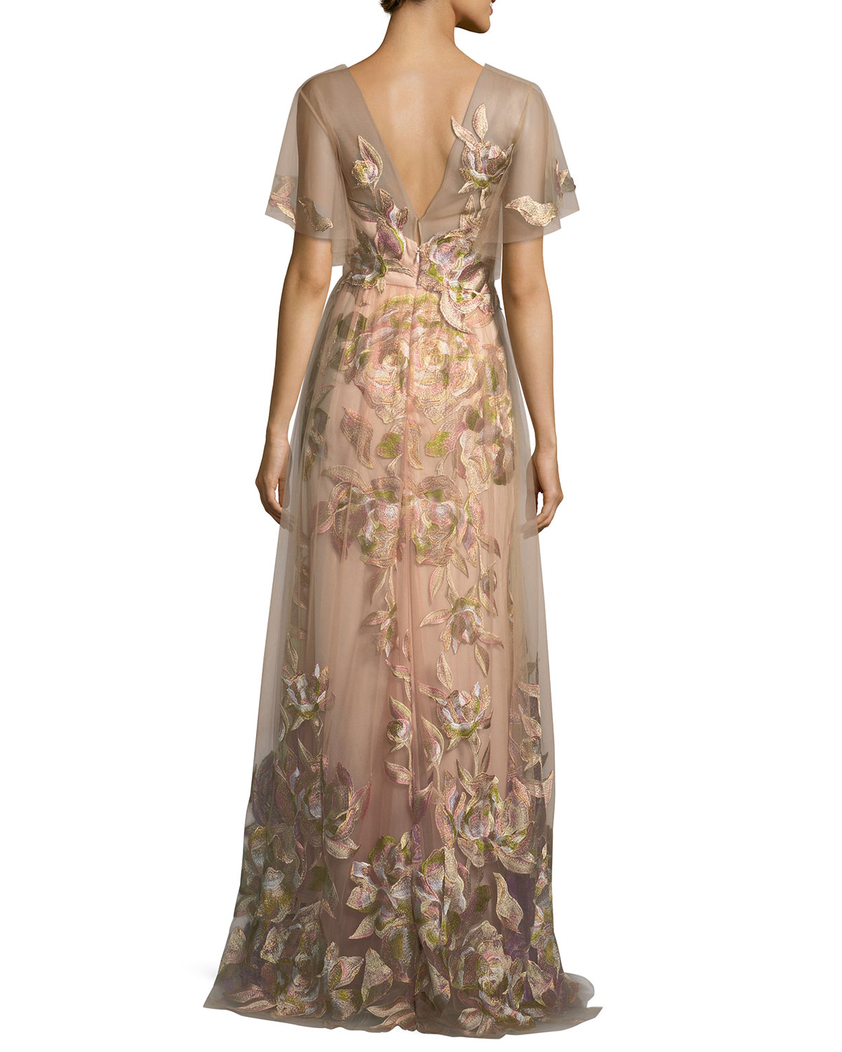 2af10d7ba77 Marchesa Notte Embroidered Tulle Flutter Sleeve Evening Gown | Neiman Marcus